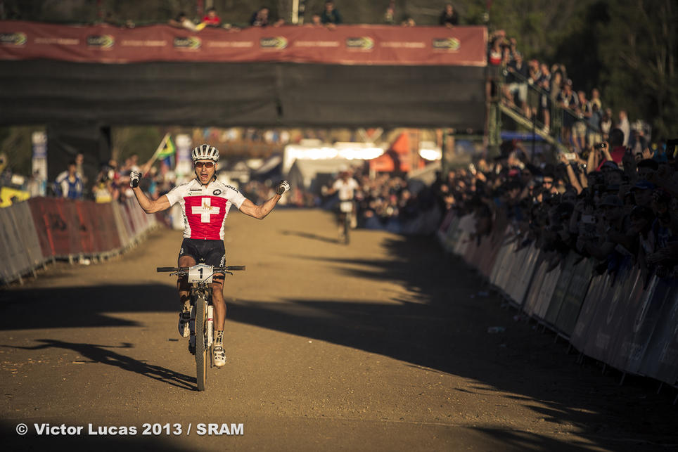 Nino Schurter of Scott Swisspower rides XX1 and AVID XX to World Championship victory