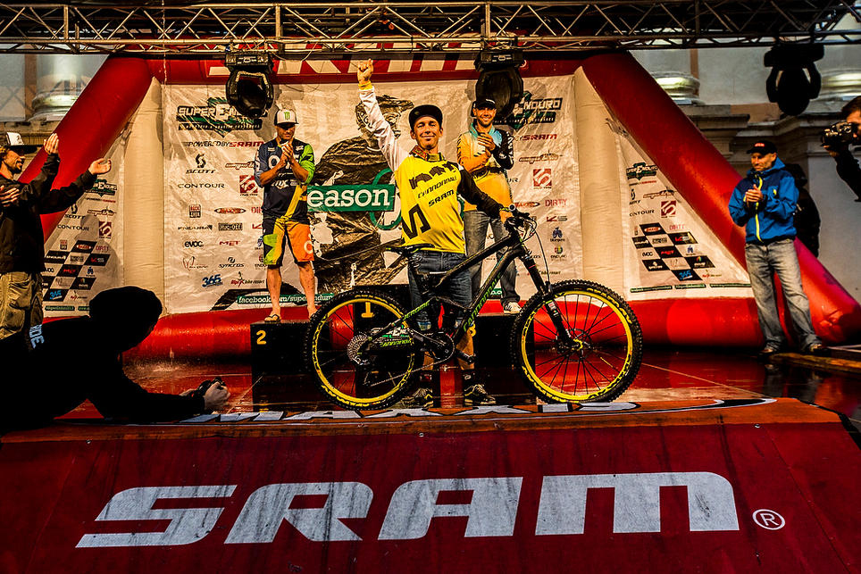 Jerome Clementz celebrating his well desirved Enduro World Series final and overall victory!